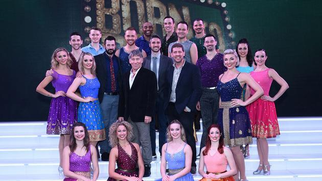 "Stephen Schwartz and Daniel C. Levine, pictured center, with The ""Born to Dance"" creative team and cast after the New York Premiere on Regal Princess"