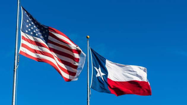 American Flag and Texas Flag under blue sky