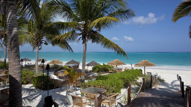 A restaurant on Grace Bay Beach in Providenciales, Turks and Caicos