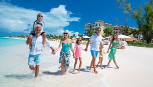 Family walking along the beach