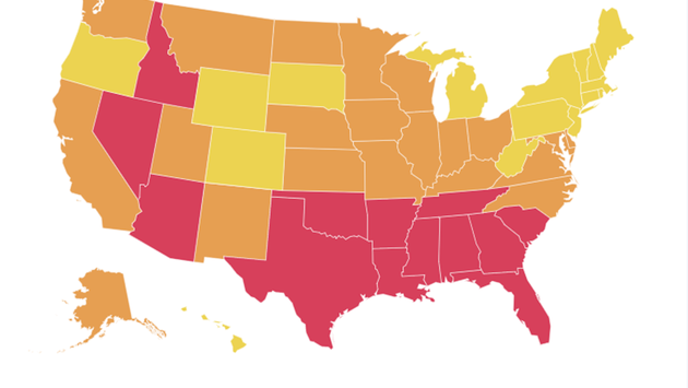 Harvard Global Health Institute's COVID Risk Level Map of the U.S. on July 29, 2020.
