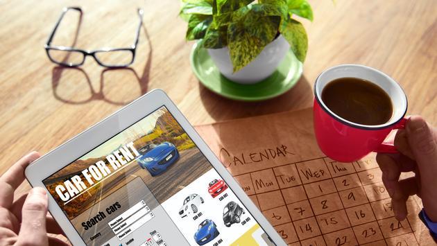 car, rental, tablet