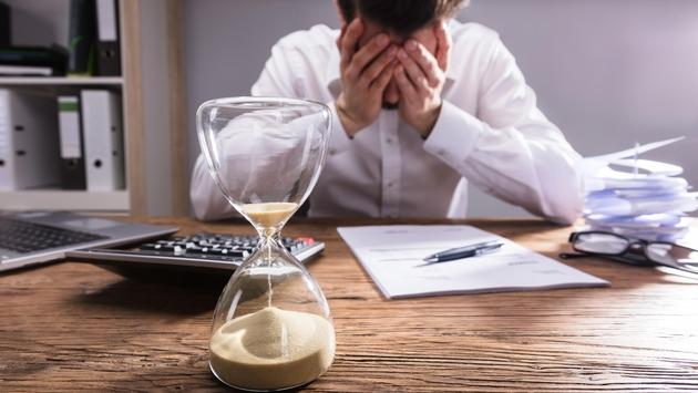 Man stressing about running out of time