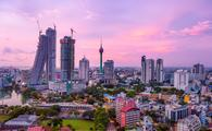 Skyline of Colombo, Sri Lanka at sunset