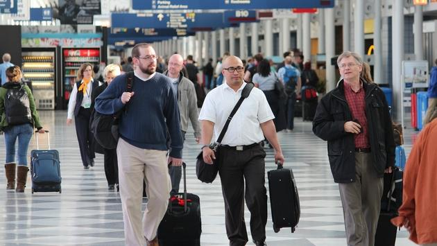 Passengers walking to their gates at Chicago's O'Hare International Airport