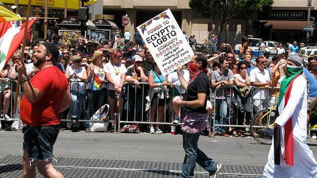 LGBTQ Egyptians marching in a US pride parade