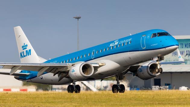KLM Cityhopper flight landing in Prague, Czech Republic