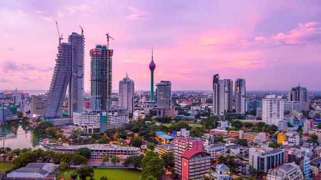 Skyline of Colombo, Sri Lanka at sunset