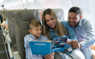 Family, travel, flight, airline