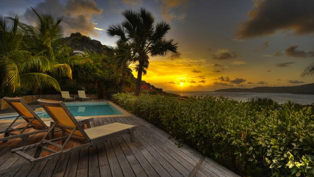 Romantic sunset in St Barts