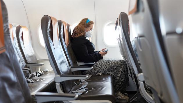 Passenger on nearly empty plane.