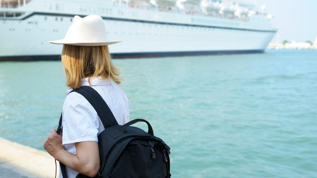 Woman Waiting for Cruise Ship