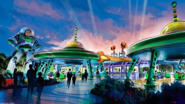 Concept art for Alien Swirling Saucers at Toy Story Land in Disney's Hollywood Studios