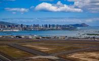 Aerial view of downtown Honolulu from Daniel K. Inouye International Airport