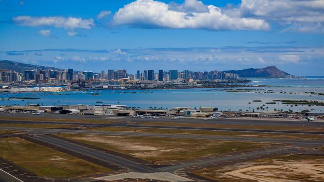 Aerial view of downtown Honolulu from Daniel K. Inouye International Airport