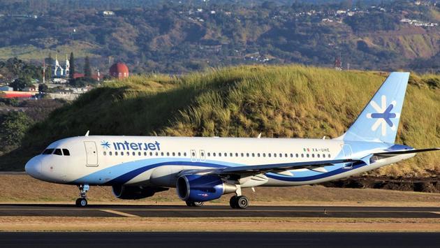 Avión de la aerolínea mexicana Interjet en preparación para el despegue. (Foto de Interjet)