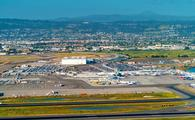 Aerial view of Oakland International Airpot in Oakland, CA