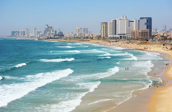 Aerial view of the beach in Tel Aviv, Israel