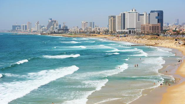 Aerial view of the beach in Tel Aviv, Israel