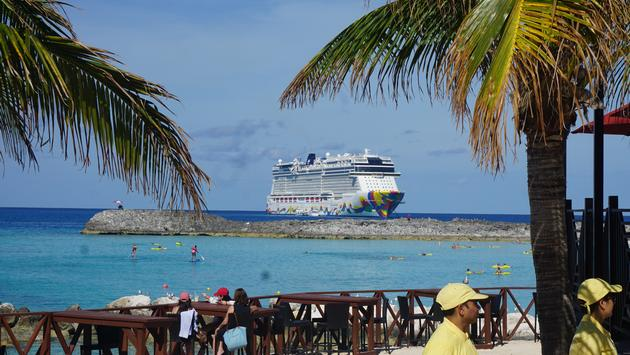 Norwegian Encore off Great Stirrup Cay in the Bahamas