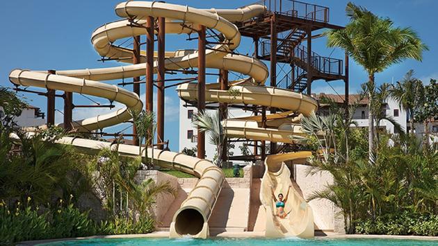 Water slides at Dreams Playa Mujeres Golf & Spa Resort