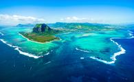 Aerial view of Mauritius and the underwater waterfall