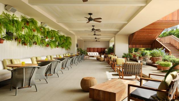 Spaces at THE MODERN HONOLULU feature clean lines, open air, and green design.