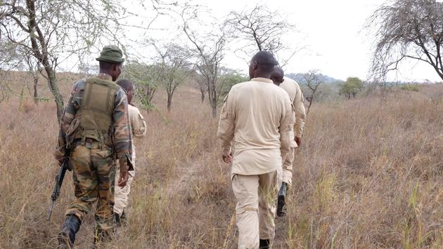 Big Life Foundation's rhino unit on patrol