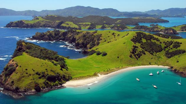 Aerial view of Waewaetorea Passage, in New Zealand's Bay of Islands.