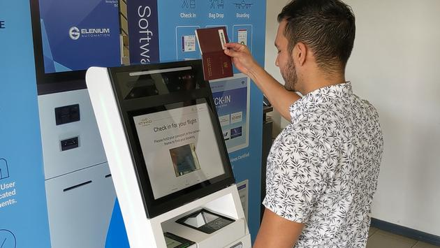 Etihad Airways and  Elenium Automation health testing kiosk