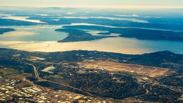 Aerial view of Seattle-Tacoma International Airport