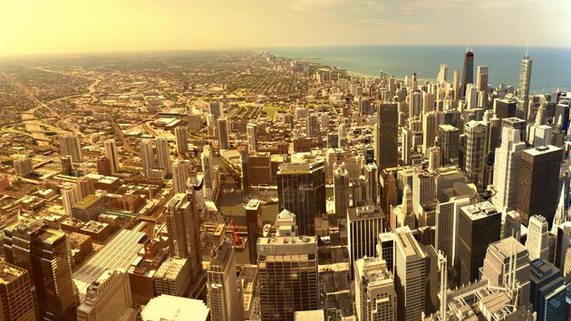The Chicago skyline from the Willis Tower Skydeck