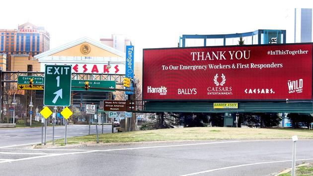 Caesars Entertainment, Vegas, donation, sign