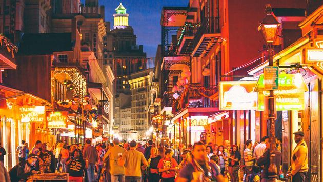 Nightlife on Bourbon Street in New Orleans