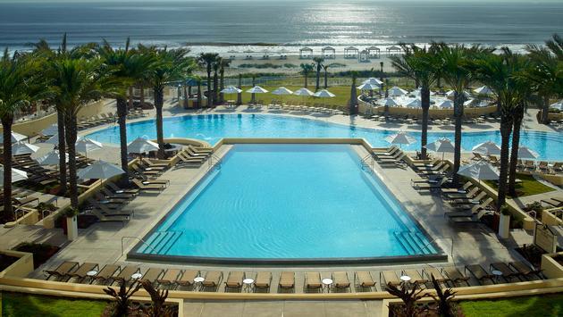 Amelia Island Omni pool view from guestroom balcony