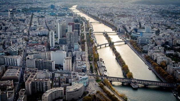 Aerial view of Paris and Seine river