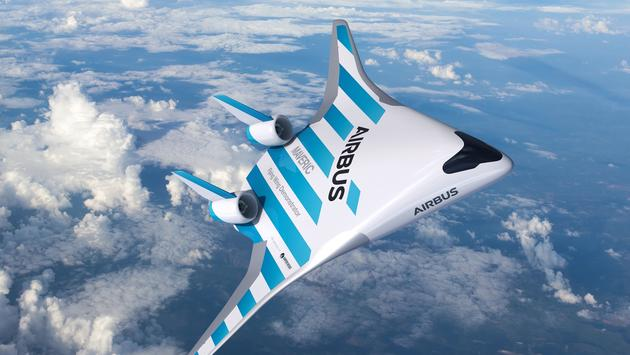 Airbus' MAVERIC scale model aircraft in flight.