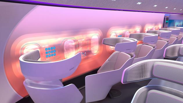 Rendering of a possible cabin configuration in a blended-wing passenger aircraft.Rendering of a possible cabin configuration in a blended-wing passenger aircraft.