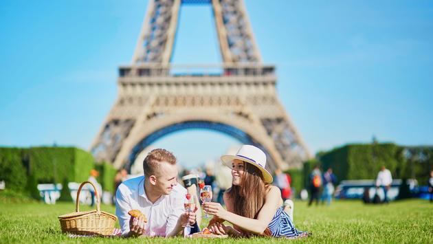 Picnic near the Eiffel tower in Paris, France