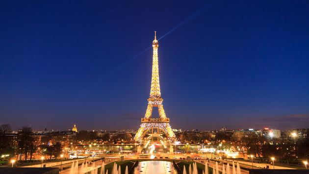 Eiffel tower blue lights