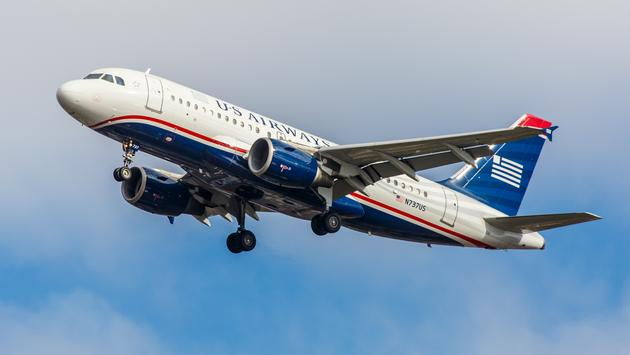 US Airways Airbus A320 approaching John F. Kennedy International Airport in New York