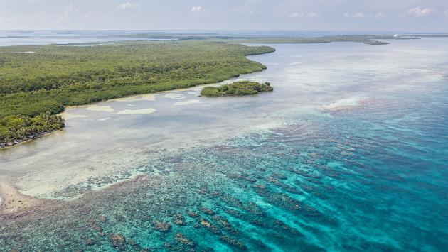 Aerial of Boats and Reef in Belize (Photo via Velvetfish / iStock / Getty Images Plus)