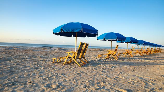 Beach and umbrella on Hilton Head Island