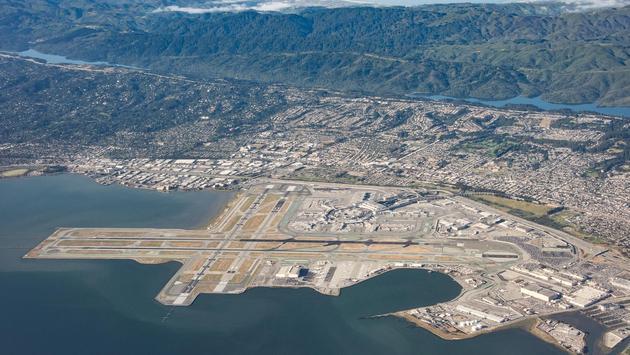 Aerial view of San Francisco International Airport