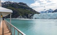 Cruise ship near glacier in Glacier Bay, Alaska.