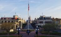 Disney Security team saluting the American flag in Town Square at Magic Kingdom Park