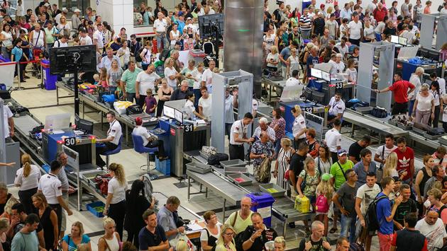 Security and passport control at airport in Turkey