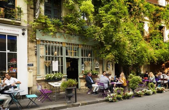 A traditional bistro in Paris, France