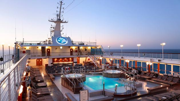 Pool deck at sunset, Azamara Club Cruises