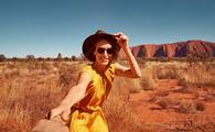 Traveler at Uluru, Australia